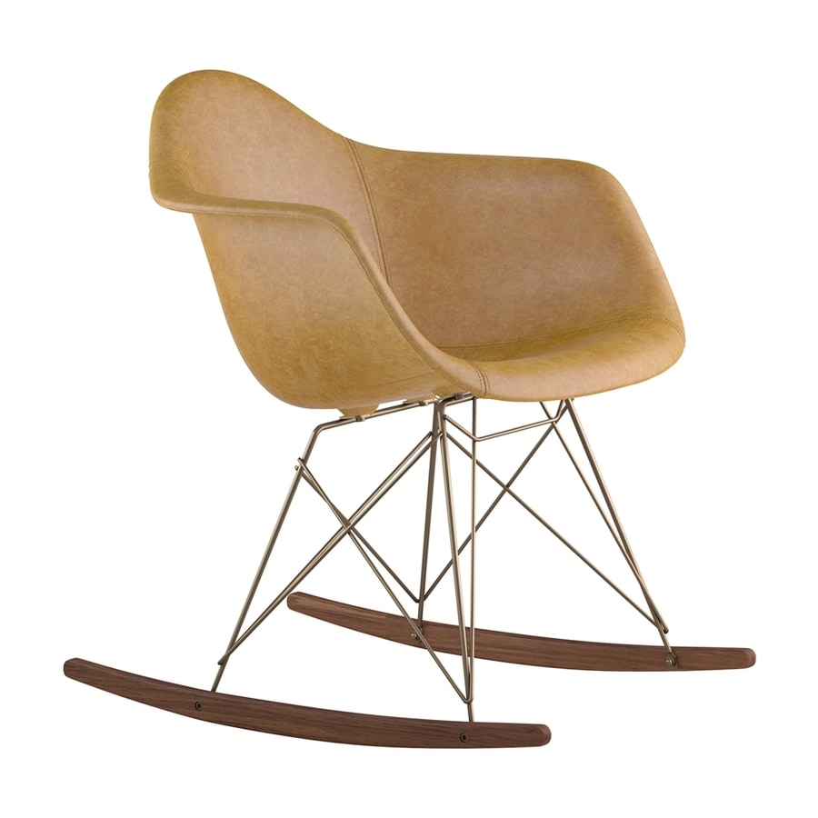 NyeKoncept Midcentury Aged Maple/Walnut/Brushed Brass Genuine Leather Rocking Chair