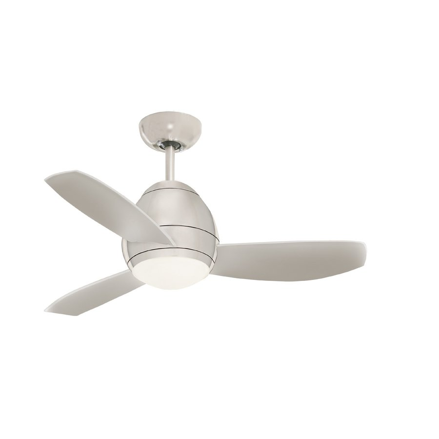 Cascadia Lighting Curva 44-in Brushed Steel Downrod Mount Ceiling Fan with Light Kit with Remote Control (3-Blade)