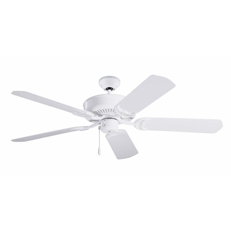 Cascadia Lighting Batalie Breeze 52-in Appliance White Indoor/Outdoor Downrod Mount Ceiling Fan (5-Blade) ENERGY STAR