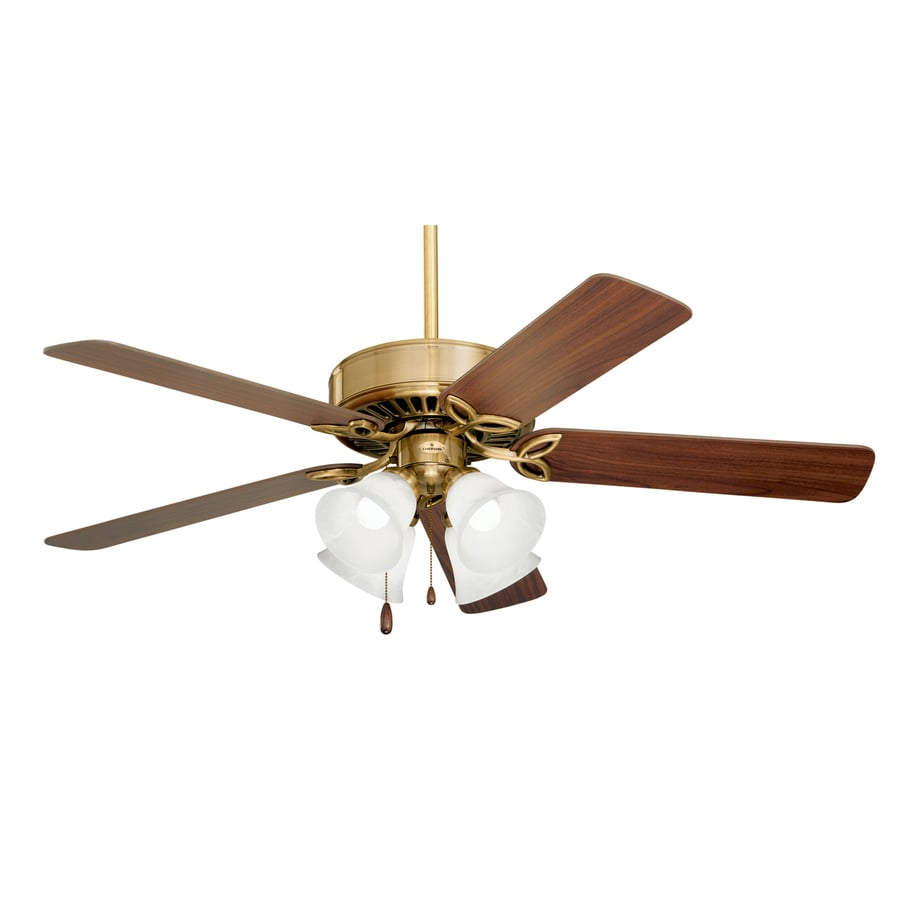 Cascadia Lighting 50-in Antique Brass Downrod or Close Mount Ceiling Fan with Light Kit (5-Blade)