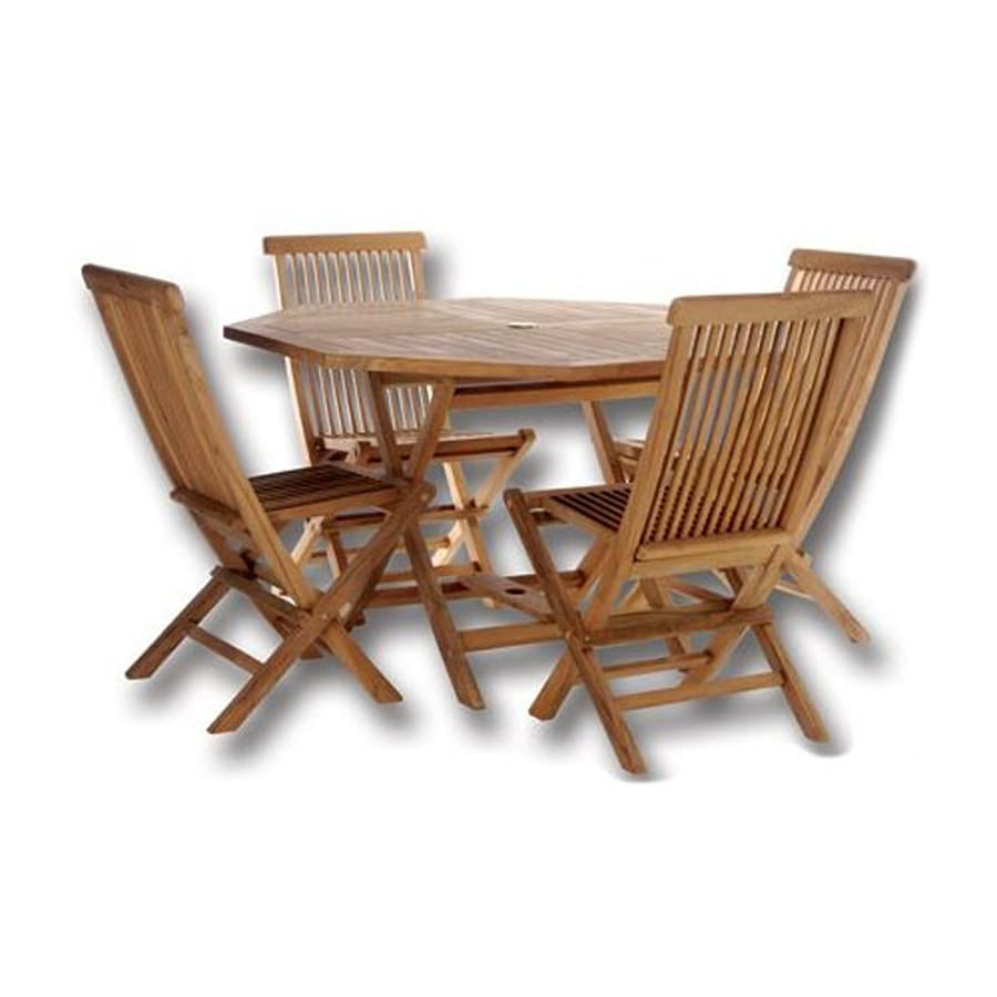 Shop All Things Cedar 5-Piece Brown Wood Frame Patio Dining Set at ...
