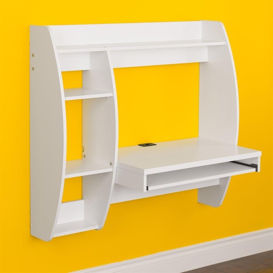 Prepac Furniture Contemporary White Floating Desk