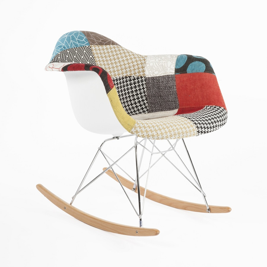 shop stilnovo usa midcentury patchwork fabric ash polyester polyester rocking chair at. Black Bedroom Furniture Sets. Home Design Ideas