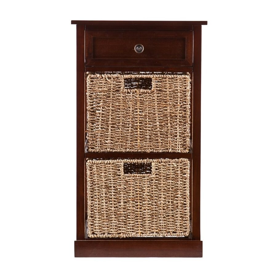 Boston Loft Furnishings Raleigh 15.75-in W x 27.75-in H x 15.75-in D Mahogany Acacia Freestanding Linen Cabinet