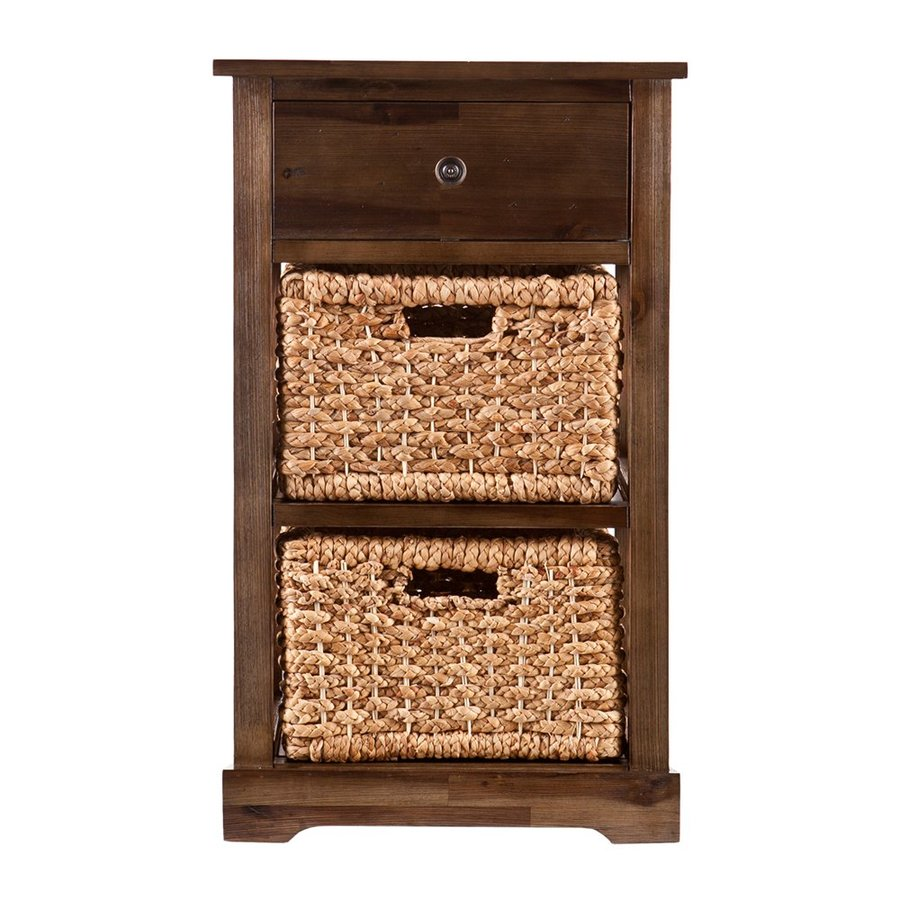 Boston Loft Furnishings Kesner 16.5-in W x 27.75-in H x 16.5-in D Antique Brown Acacia Freestanding Linen Cabinet