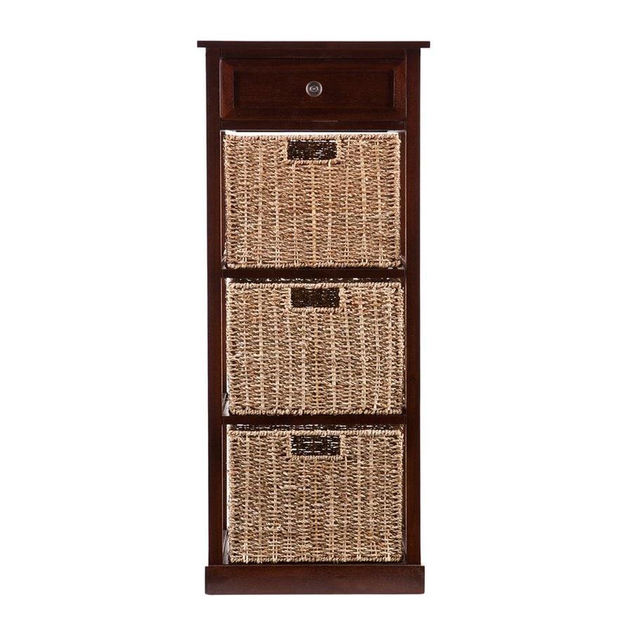 Boston Loft Furnishings Raleigh 15.75-in W x 37.75-in H x 15.75-in D Mahogany Freestanding Linen Cabinet