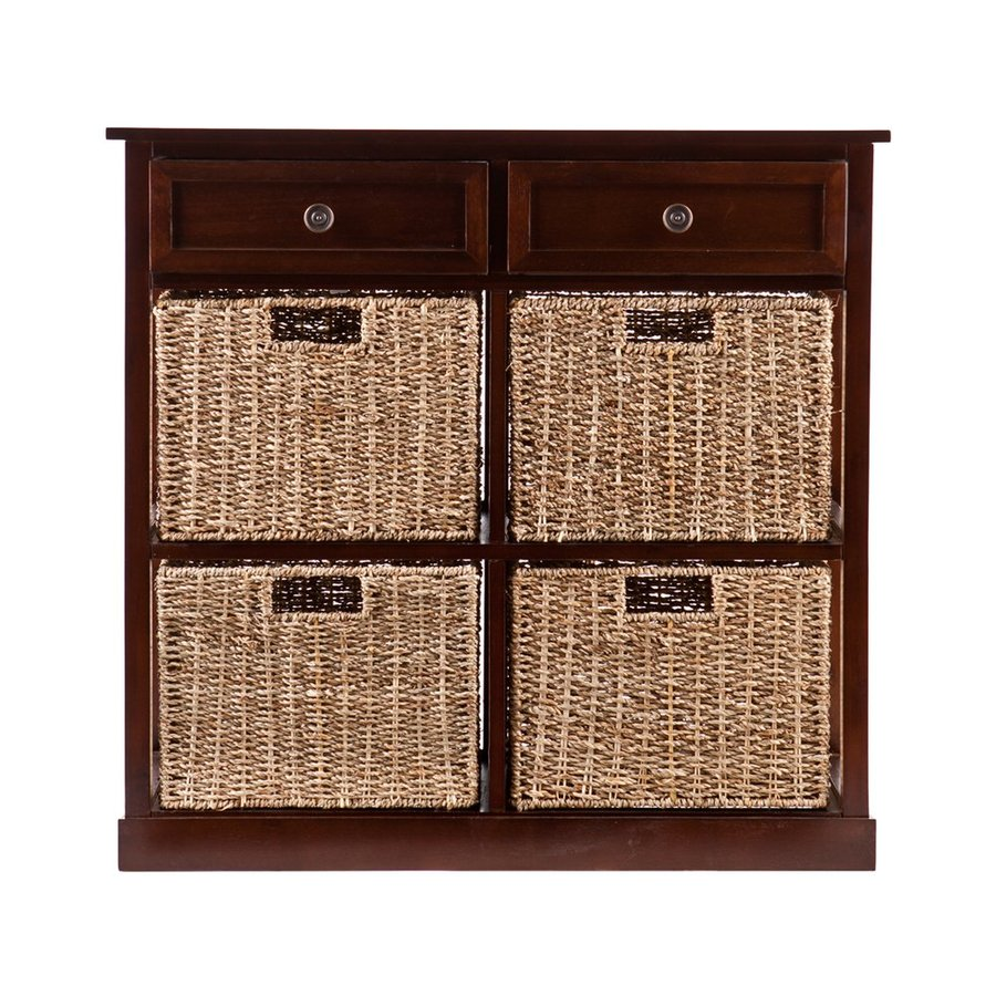 Boston Loft Furnishings Raleigh 29-in W x 27.75-in H x 29-in D Mahogany Acacia Freestanding Linen Cabinet
