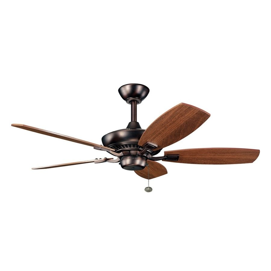 Kichler Canfield 44-in Oil Brushed Bronze Downrod or Close Mount Ceiling Fan Light Kit Adaptable (5-Blade)