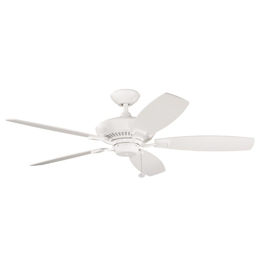 Kichler Canfield 52-in Satin Natural White Indoor Residential Downrod Mount Ceiling Fan Light Kit Adaptable (5-Blade) ENERGY STAR