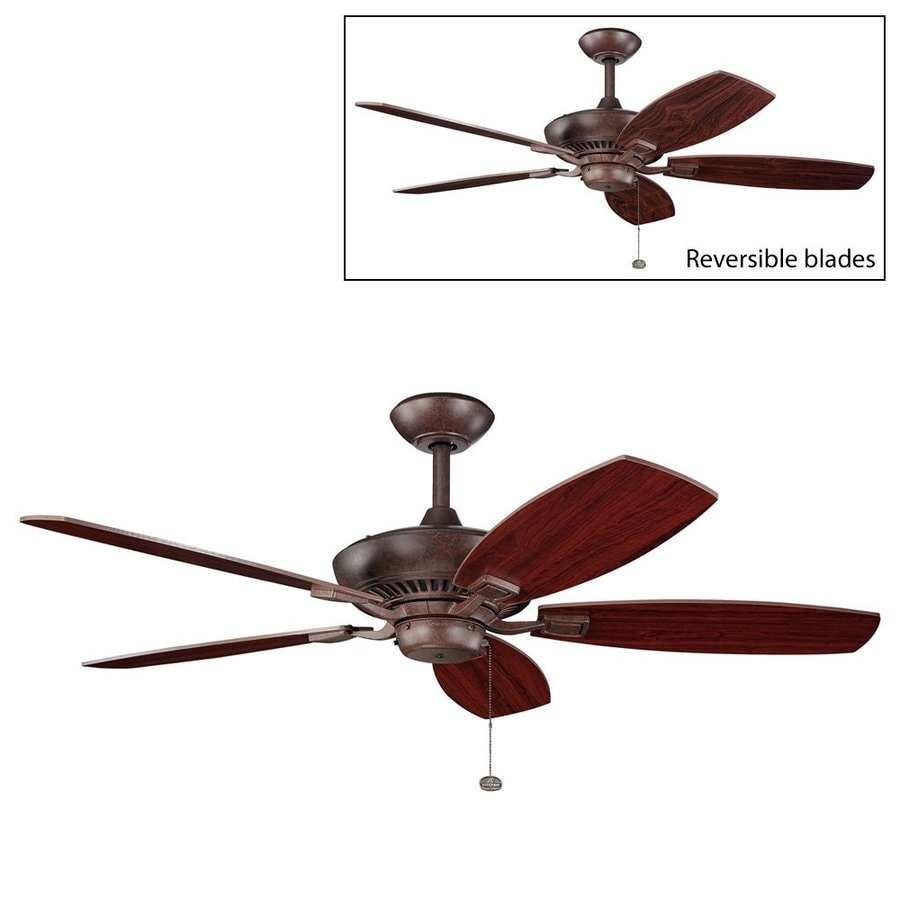 52 Ceiling Fan With Light Kit Indoor Outdoor Downrod: Shop Kichler Canfield 52-in Tannery Bronze Indoor