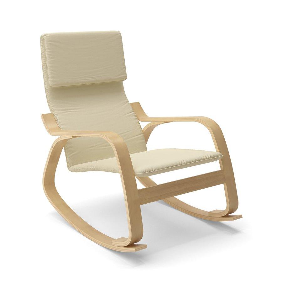 CorLiving Aquios Modern Warm White Cotton Rocking Chair