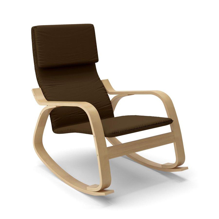 CorLiving Aquios Modern Dark Coffee Cotton Rocking Chair