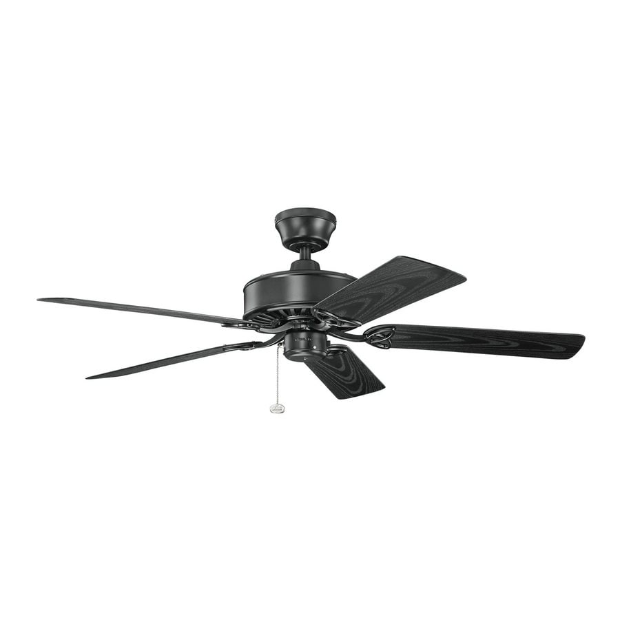 Kichler 52-in Satin Black Indoor/Outdoor Downrod or Close Mount Ceiling Fan (5-Blade) ENERGY STAR