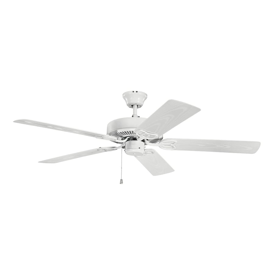 White Outdoor Ceiling Fan With Light: Kichler Basics Revisited 52-in White Indoor/Outdoor