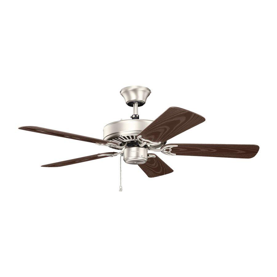 Kichler Basics Revisited 42-in Brushed Nickel Indoor/Outdoor Downrod or Close Mount Ceiling Fan (5-Blade)