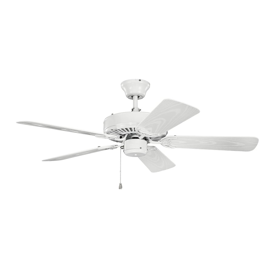 Kichler Basics Revisited 42-in White Indoor/Outdoor Downrod or Close Mount Ceiling Fan (5-Blade)