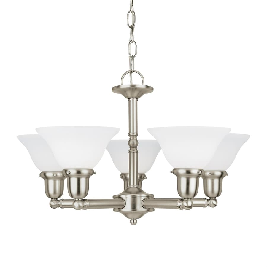 Sea Gull Lighting Sussex 24-in 5-Light Brushed Nickel Etched Glass Shaded Chandelier