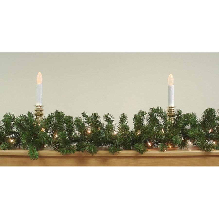 Northlight Indoor/Outdoor Pre-lit 9-ft L Mixed Needle Garland with White Incandescent Lights Lights
