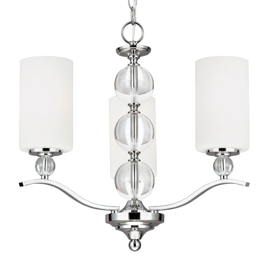 Sea Gull Lighting Englehorn 20-in 3-Light Chrome Etched Glass Shaded Chandelier ENERGY STAR