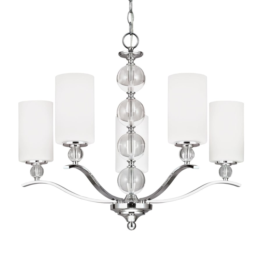 Sea Gull Lighting Englehorn 26.5-in 5-Light Chrome Etched Glass Shaded Chandelier ENERGY STAR