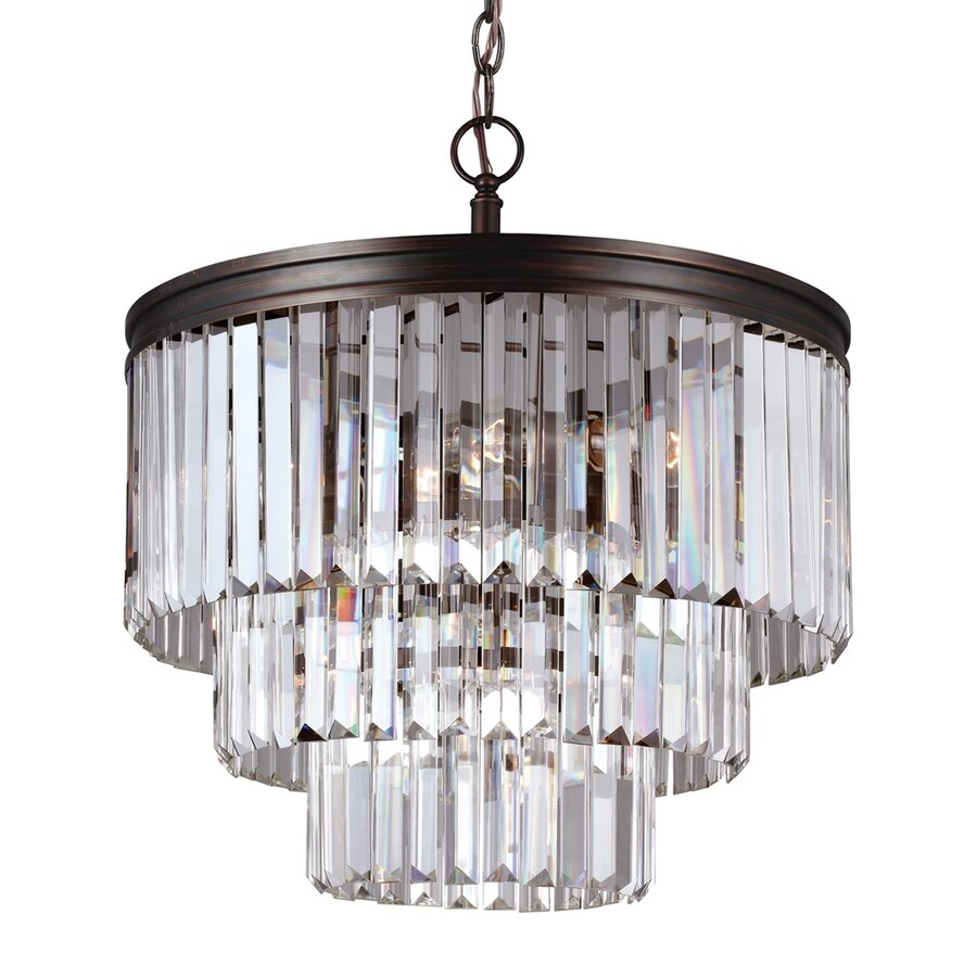 Sea Gull Lighting Carondelet 18.188-in 4-Light Burnt sienna Crystal Crystal Waterfall Chandelier ENERGY STAR