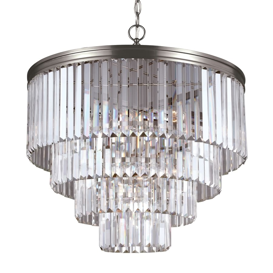 Sea Gull Lighting Carondelet 23.5-in 6-Light Antique brushed nickel Crystal Crystal Waterfall Chandelier ENERGY STAR