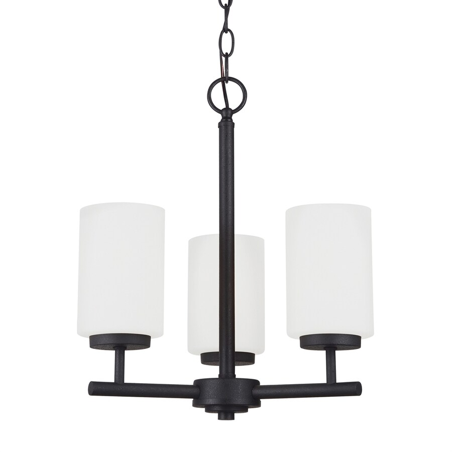 Sea Gull Lighting Oslo 15-in 3-Light Blacksmith Etched Glass Shaded Chandelier ENERGY STAR