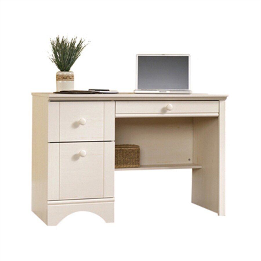 Sauder Harbor View Transitional Antiqued White Computer Desk