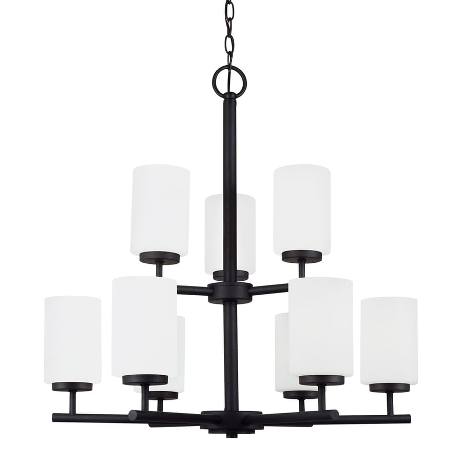 Sea Gull Lighting Oslo 26-in 9-Light Blacksmith Etched Glass Tiered Chandelier ENERGY STAR
