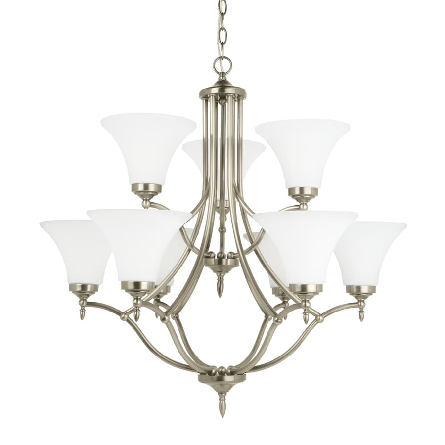 Sea Gull Lighting Montreal 30.375-in 9-Light Antique brushed nickel Etched Glass Tiered Chandelier ENERGY STAR