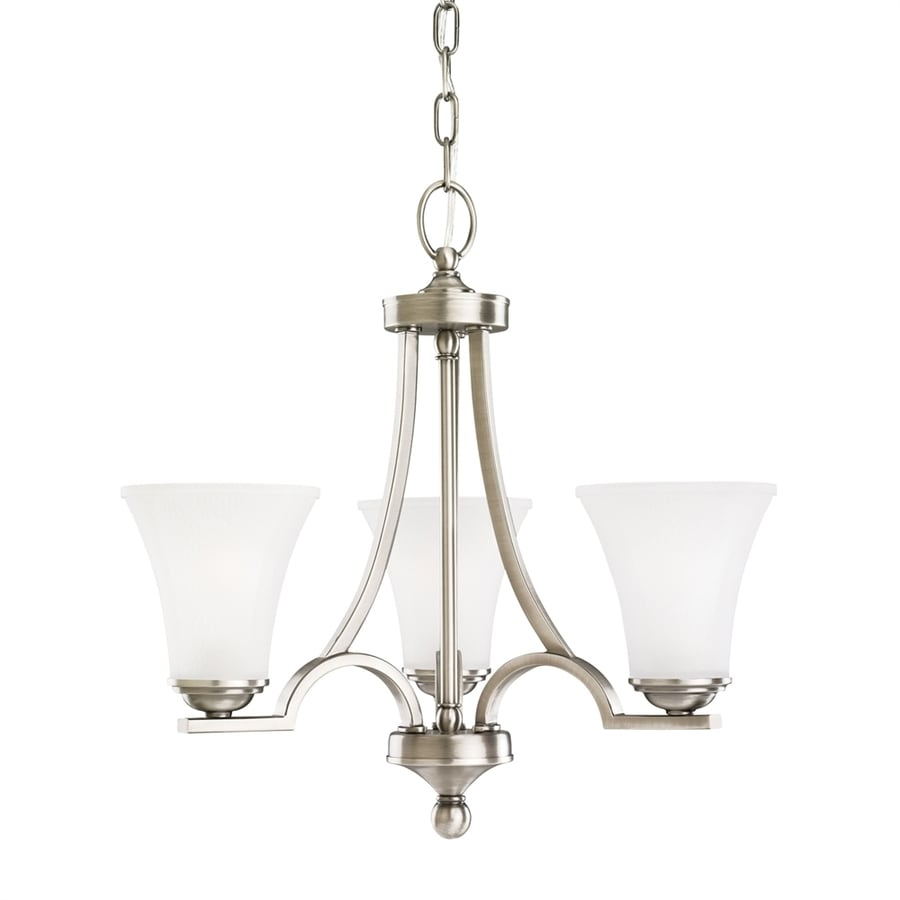 Sea Gull Lighting Somerton 20-in 3-Light Antique brushed nickel Etched Glass Shaded Chandelier ENERGY STAR
