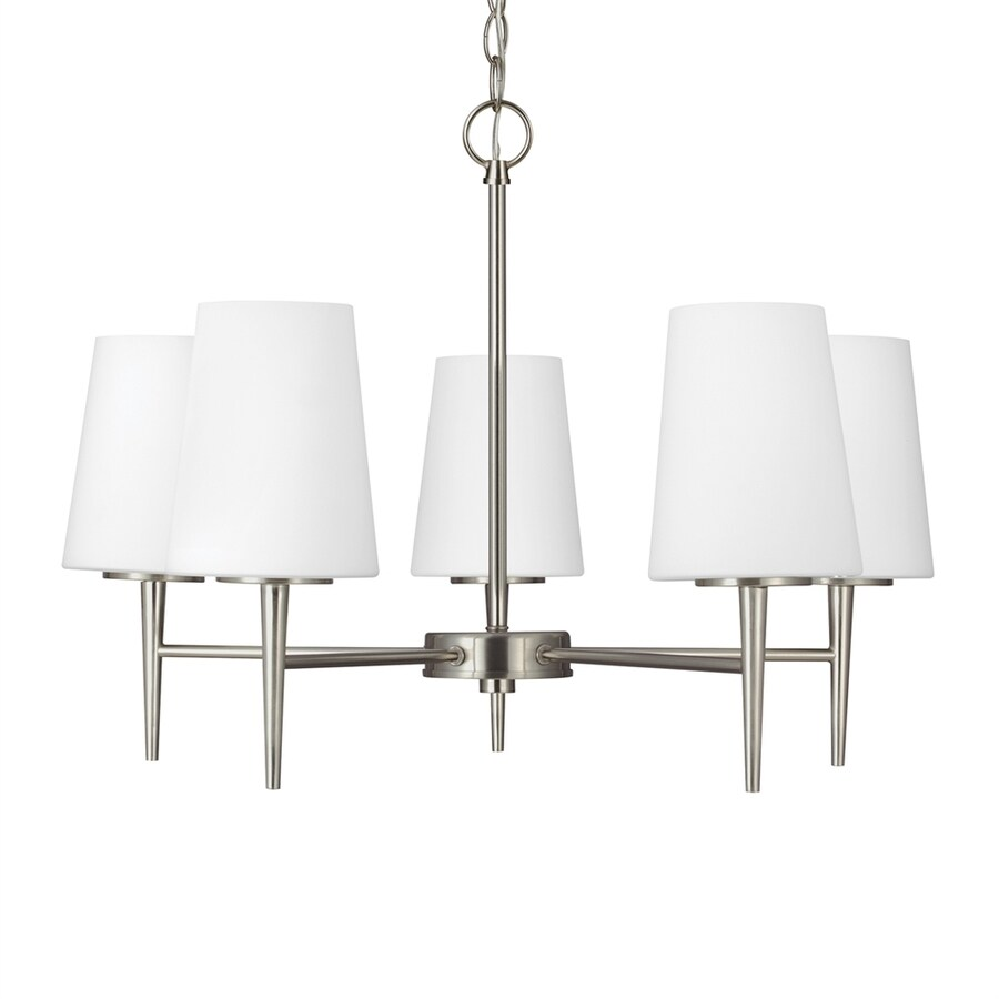 Sea Gull Lighting Driscoll 25.25-in 5-Light Brushed nickel Etched Glass Shaded Chandelier ENERGY STAR