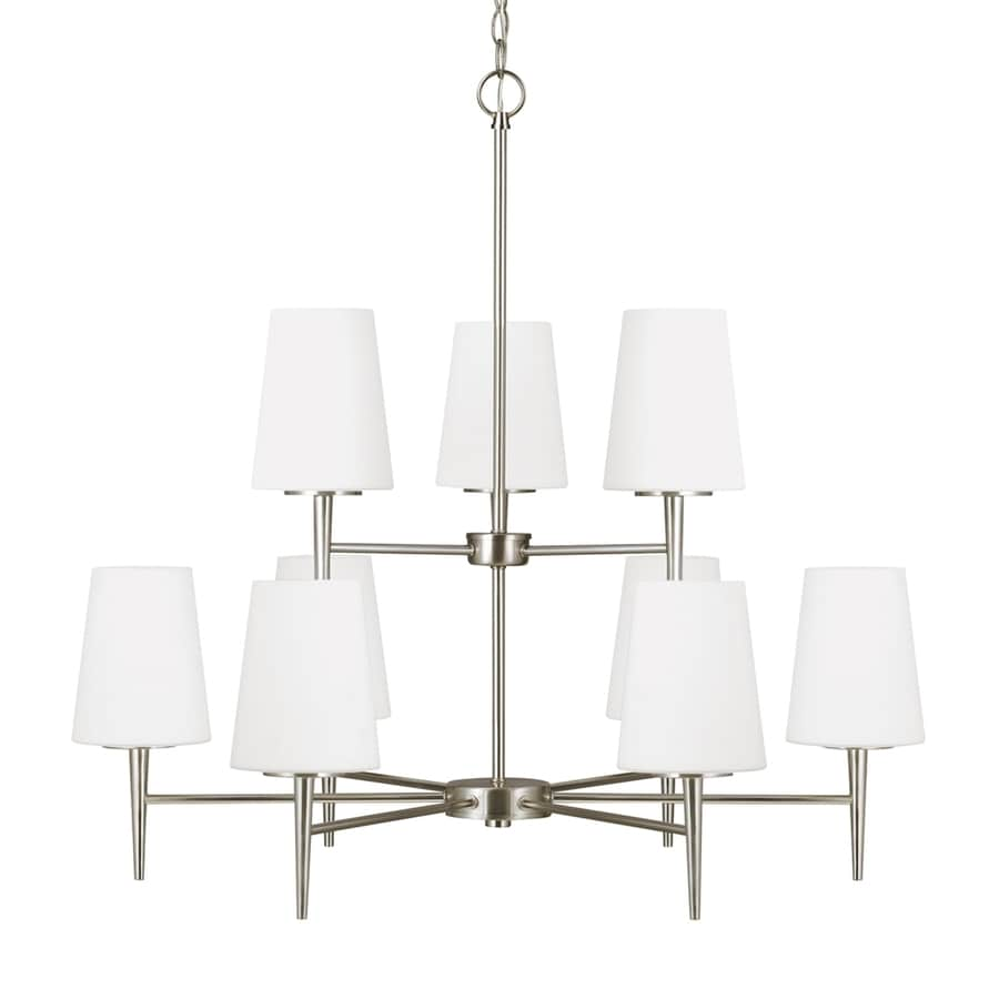 Sea Gull Lighting Driscoll 32-in 9-Light Brushed nickel Etched Glass Tiered Chandelier ENERGY STAR