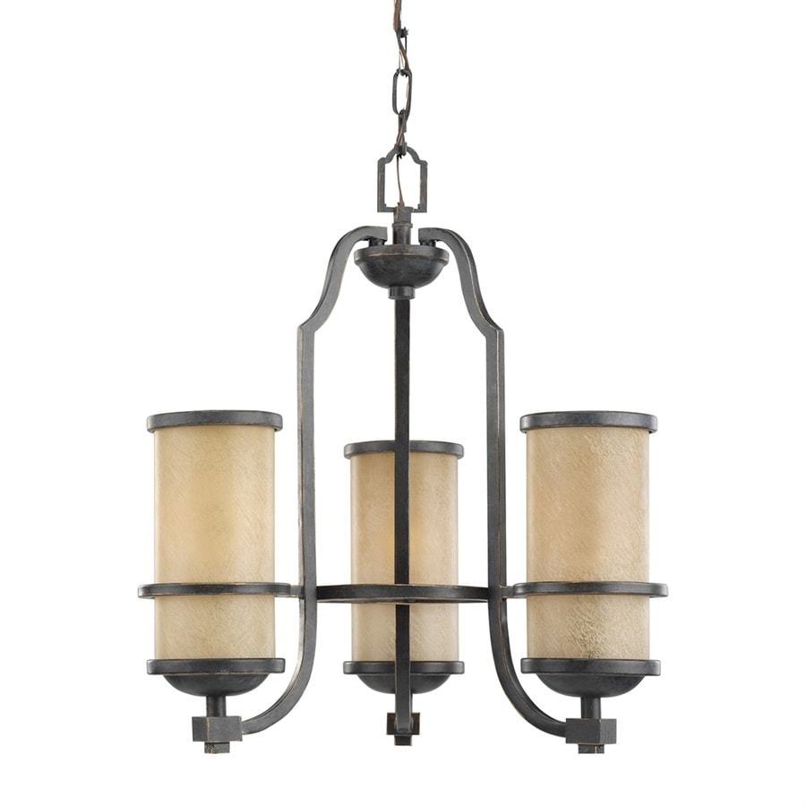 Sea Gull Lighting Roslyn 18-in 3-Light Flemish bronze Mediterranean Tinted Glass Shaded Chandelier ENERGY STAR