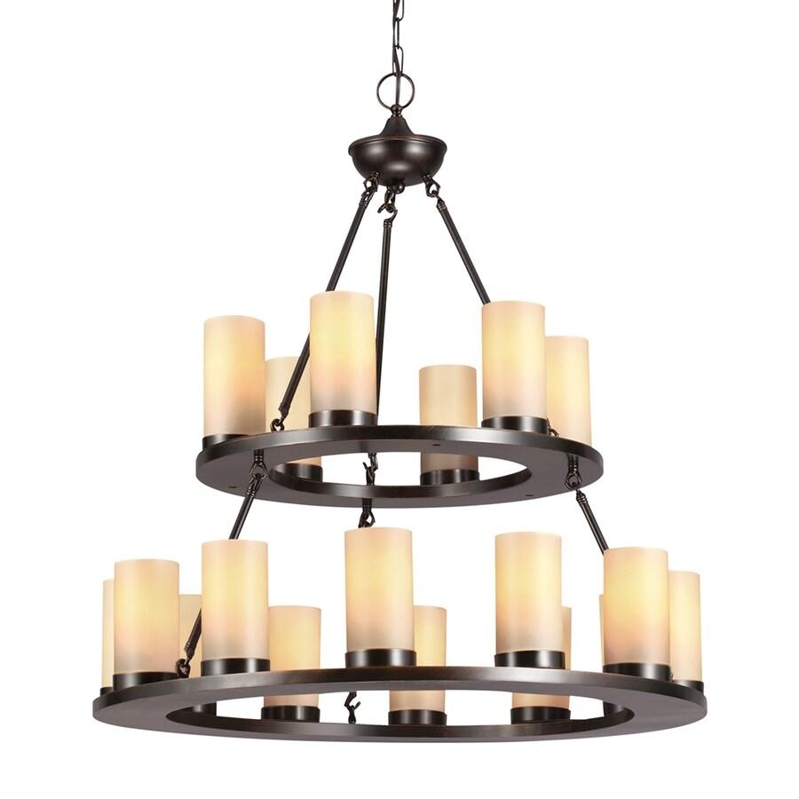 Sea Gull Lighting Ellington 30-in 18-Light Burnt sienna Rustic Tinted Glass Tiered Chandelier ENERGY STAR