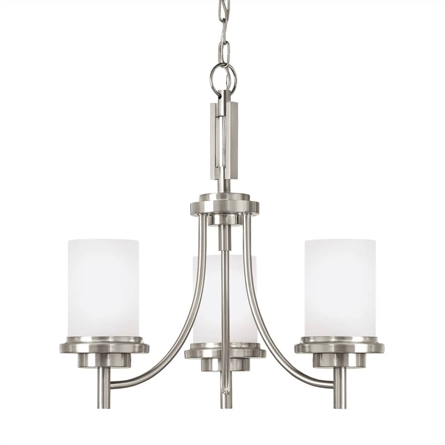Sea Gull Lighting Winnetka 21-in 3-Light Brushed nickel Etched Glass Shaded Chandelier ENERGY STAR