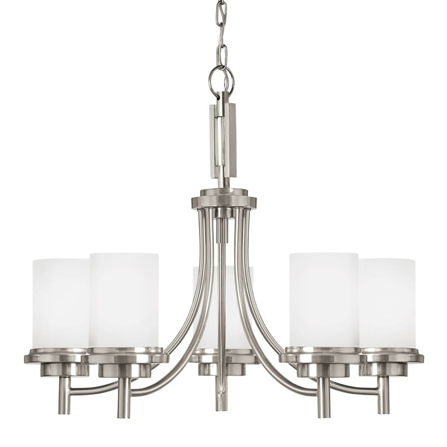 Sea Gull Lighting Winnetka 25-in 5-Light Brushed nickel Etched Glass Shaded Chandelier ENERGY STAR