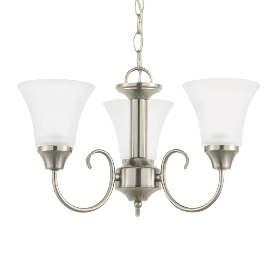 Sea Gull Lighting Holman 17.75-in 3-Light Brushed nickel Etched Glass Shaded Chandelier ENERGY STAR