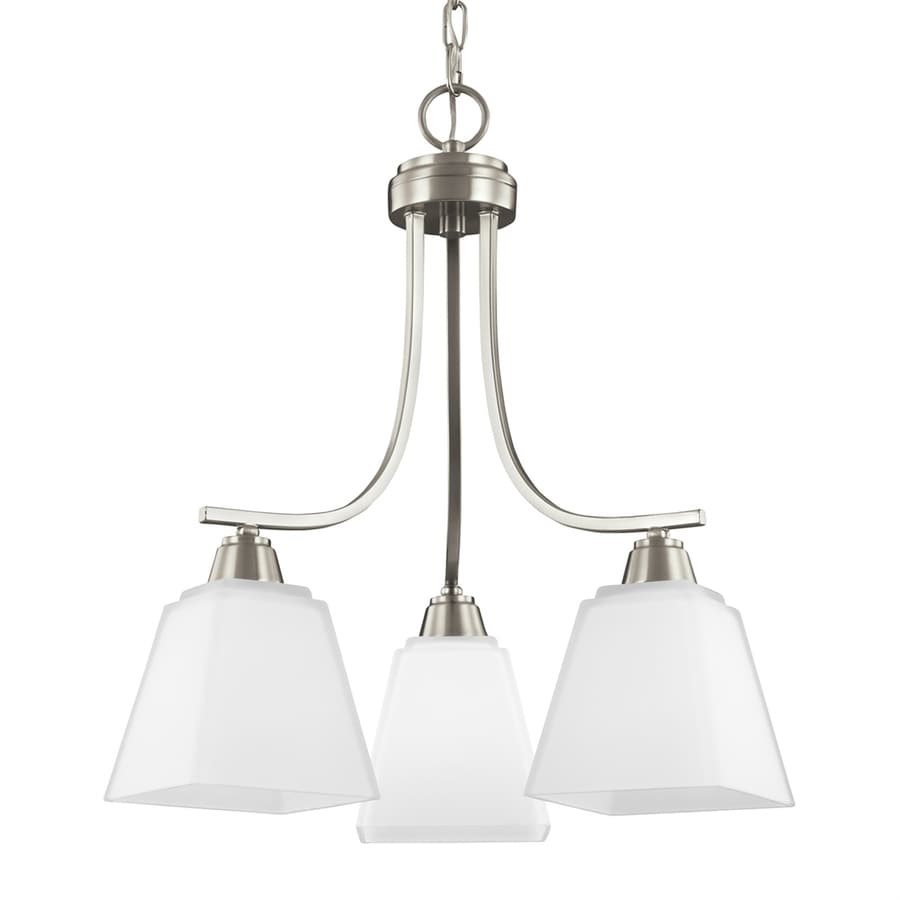 Sea Gull Lighting Parkfield 18.375-in 3-Light Brushed nickel Etched Glass Shaded Chandelier ENERGY STAR