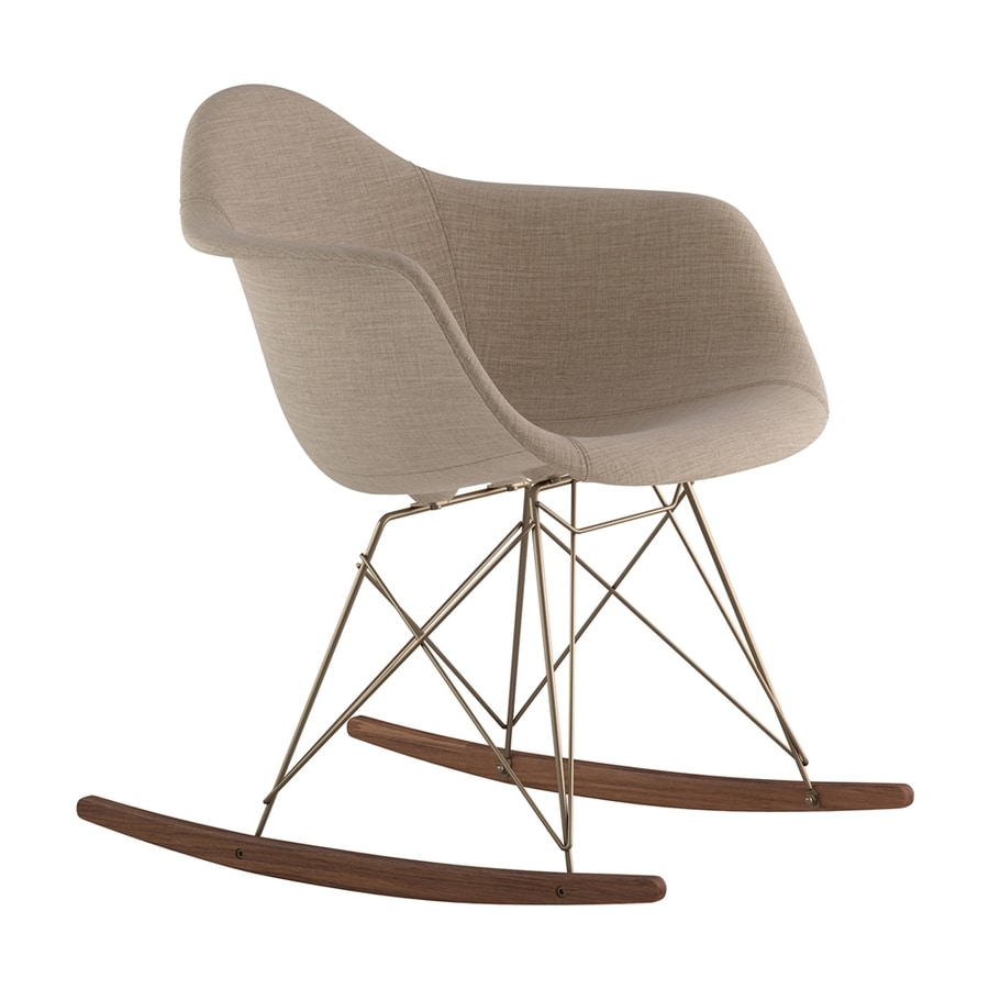 NyeKoncept Midcentury Light Sand/Walnut/Brushed Brass Polyester Rocking Chair