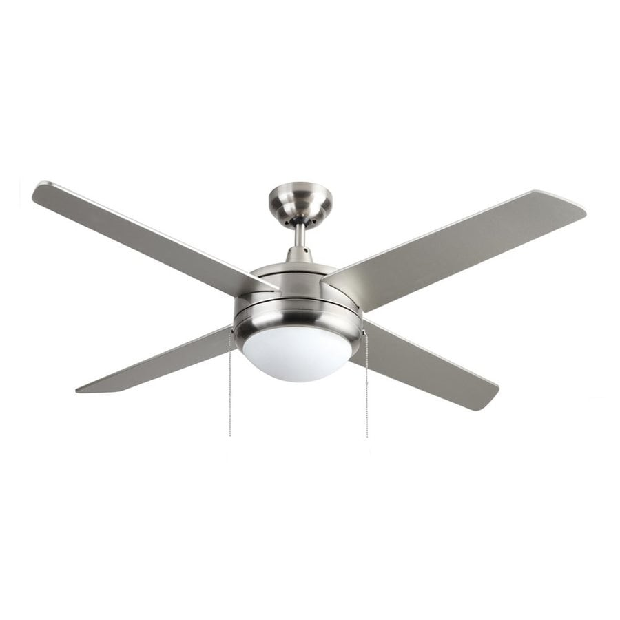 Shop royal pacific europa 50 in brushed nickel led indoor downrod royal pacific europa 50 in brushed nickel led indoor downrod mount ceiling fan with light aloadofball Choice Image