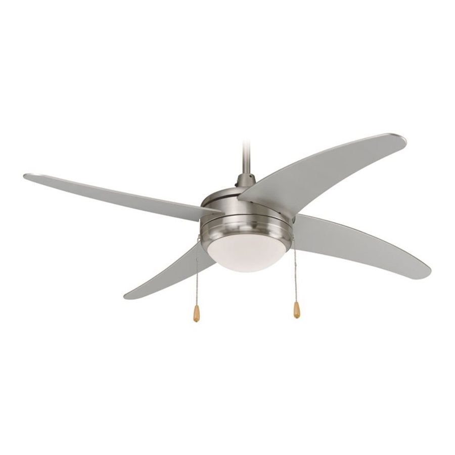 Royal Pacific Europa I 50-in Brushed Nickel Downrod Mount Ceiling Fan with Light Kit (4-Blade)