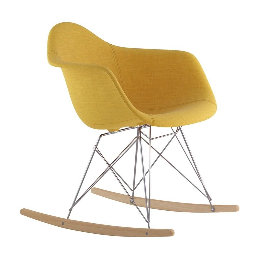 NyeKoncept Midcentury Papaya Yellow/Natural Wood/Brushed Nickel Polyester Rocking Chair