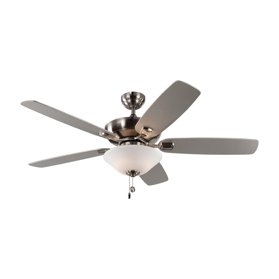 Monte Carlo Fan Company Colony 52-in Brushed Steel Indoor/Outdoor Downrod or Close Mount Ceiling Fan with Light Kit (5-Blade)