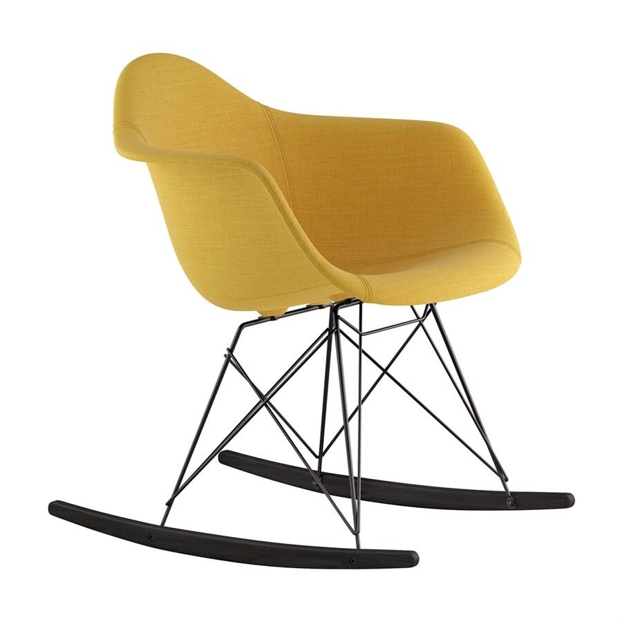 NyeKoncept Midcentury Papaya Yellow/Black/Brushed Gunmetal Polyester Rocking Chair