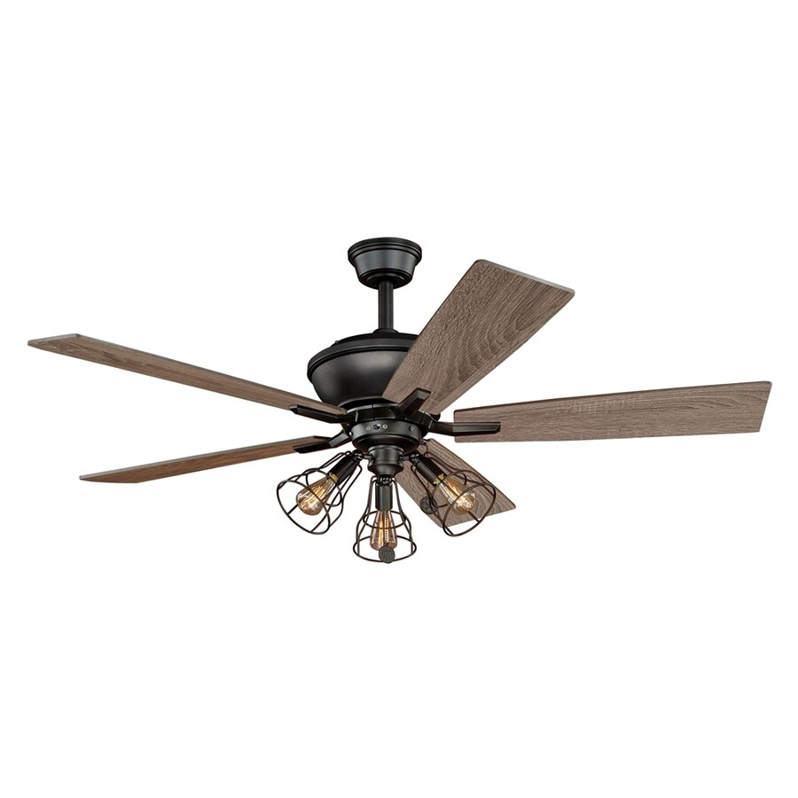 Cascadia Lighting 52-in Bronze Indoor Residential Downrod Mount Ceiling Fan with Light Kit (5-Blade)