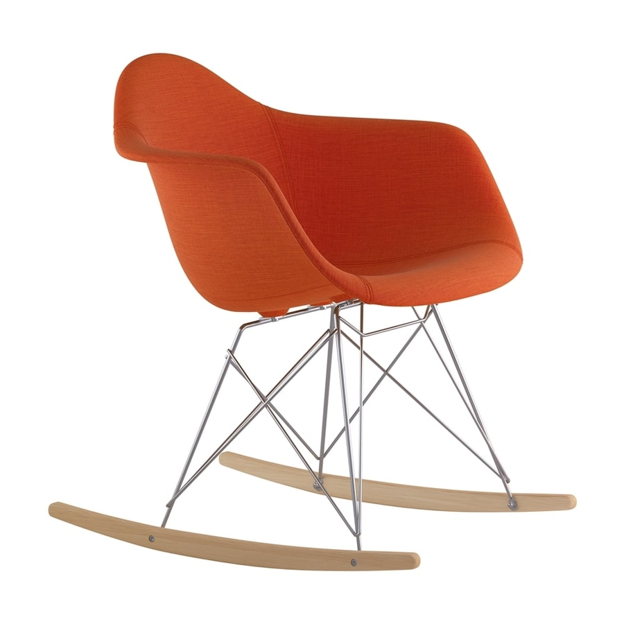 NyeKoncept Midcentury Lava Red/Natural Wood/Brushed Nickel Polyester Rocking Chair