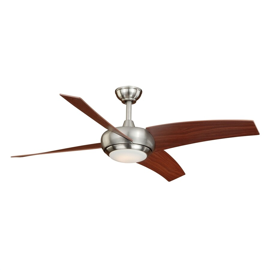 Cascadia Lighting 48-in Satin Nickel LED Indoor Downrod Mount Ceiling Fan with Light Kit and Remote Control (4-Blade)
