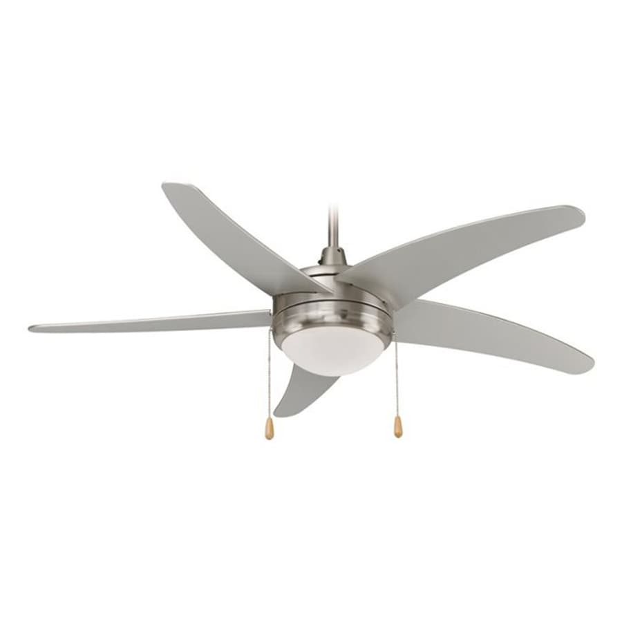 Royal Pacific Mirage I 50-in Brushed Nickel Downrod Mount Ceiling Fan with Light Kit with Remote Control (5-Blade) ENERGY STAR