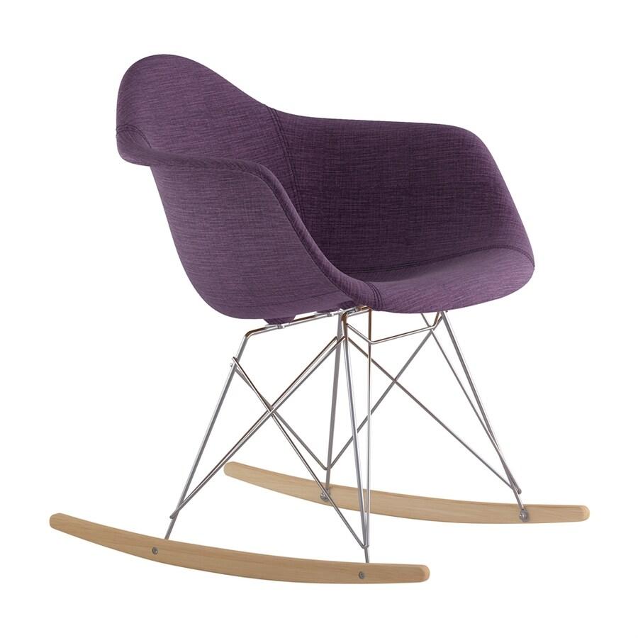 NyeKoncept Midcentury Plum Purple/Natural Wood/Brushed Nickel Polyester Rocking Chair